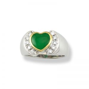 18K WHITE GOLD GREEN JADEITE JADE HEART RING UPC #282629