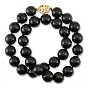 14K YELLOW GOLD BLACK NEPHRITE JADE BEAD NECKLACE UPC #313590