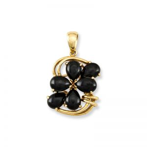 14K YELLOW GOLD BLACK NEPHRITE JADE PENDANT UPC #204263