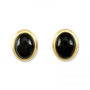14K YELLOW GOLD BLACK NEPHRITE JADE EARRING UPC #322882
