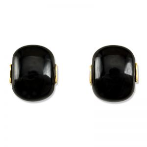 14K YELLOW GOLD BLACK NEPHRITE JADE EARRING UPC #340886