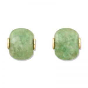 14K YELLOW GOLD GREEN JADEITE JADE EARRING UPC #340862