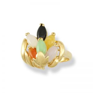 14K YELLOW GOLD MULTI-COLOR JADEITE JADE RING UPC #301115