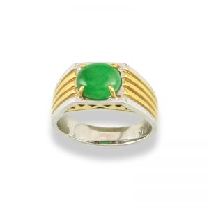 18K WHITE & YELLOW GOLD TWO-TONE GREEN JADEITE JADE RING UPC #313897