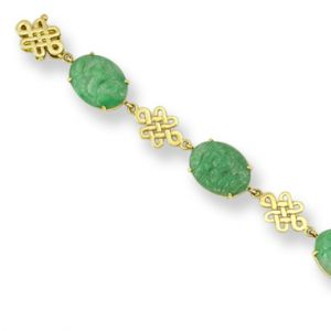 14K YELLOW GOLD GREEN JADEITE JADE BRACELET UPC #327436