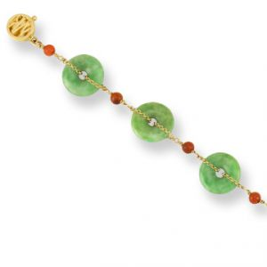 14K YELLOW GOLD GREEN JADEITE JADE DISC EXTRA LONG BRACELET UPC #336223