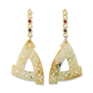 18K YELLOW GOLD YELLOW JADEITE JADE DROP EARRING UPC #317604