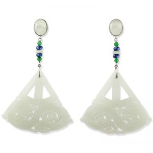 18K WHITE GOLD WATERY WHITE JADEITE JADE CARVED DRAGON DROP EARRING UPC #341050
