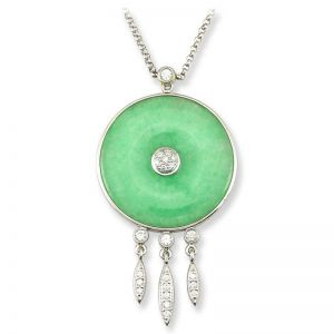 18K WHITE GOLD GREEN JADEITE JADE DISC NECKLACE UPC #272484