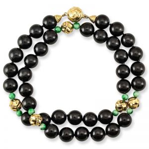 14K YELLOW GOLD BLACK NEPHRITE JADE BEAD NECKLACE UPC #302990