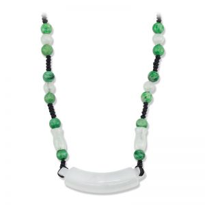 ICY WHITE & GREEN JADEITE JADE CORD NECKLACE UPC #352537